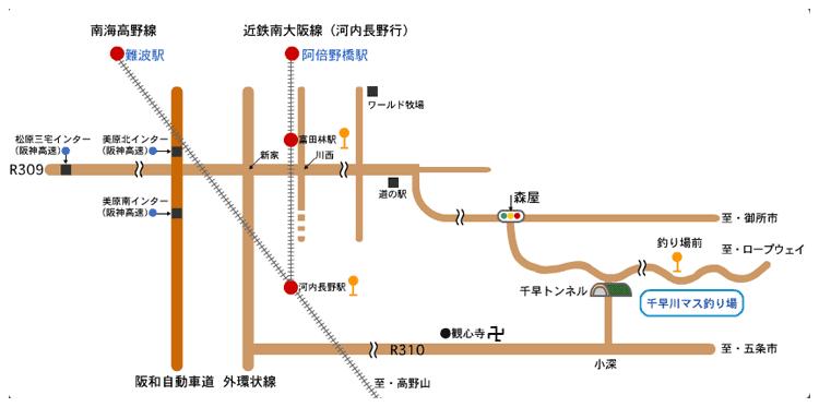 千早川マス釣り周辺の地図